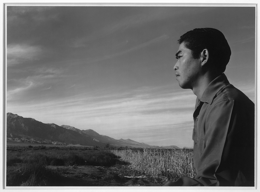 Tom Kobayashi looks off into the mountains at the Manzanar Relocation Center