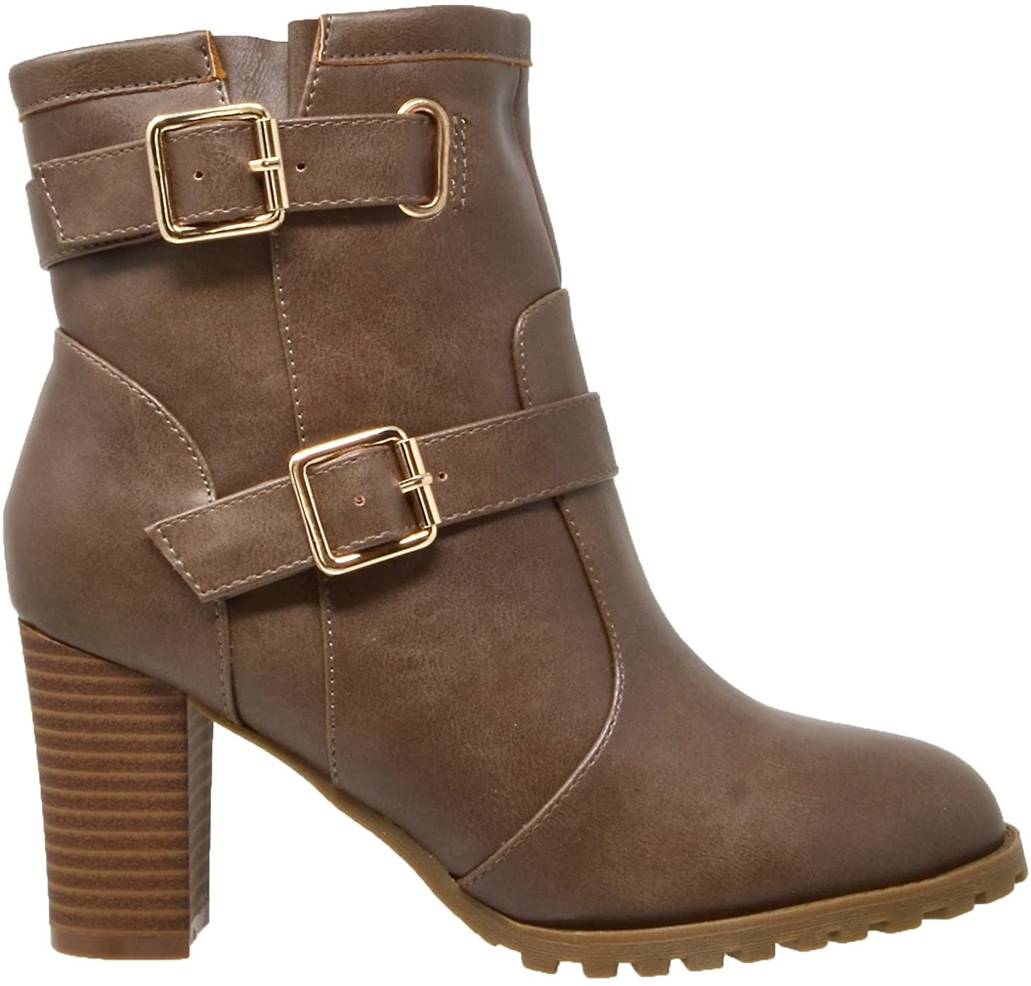 taupe booties with buckle details and stacked heel