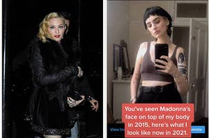 Side by side of Madonna and TikToker