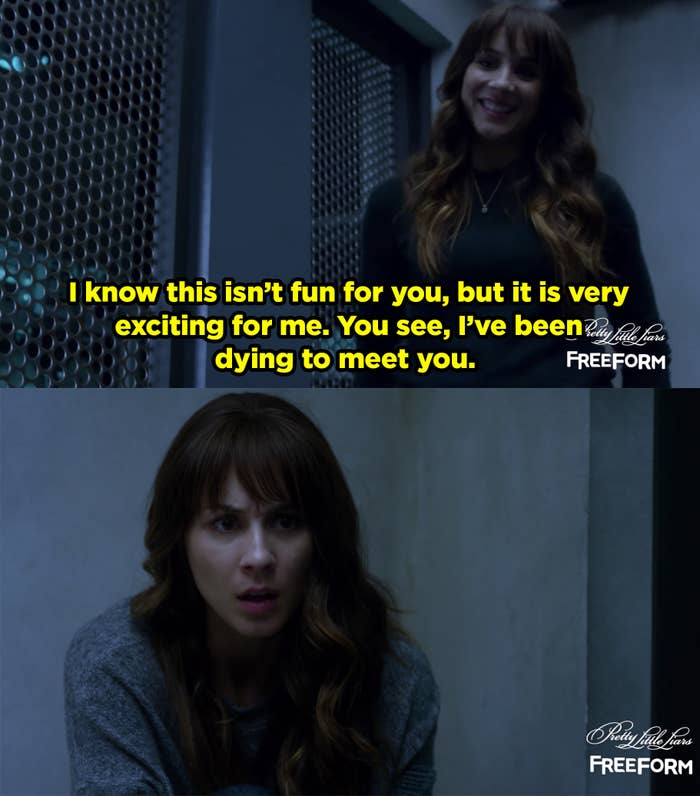 Spencer meets her twin Alex and she captures Spencer and inprisons her.