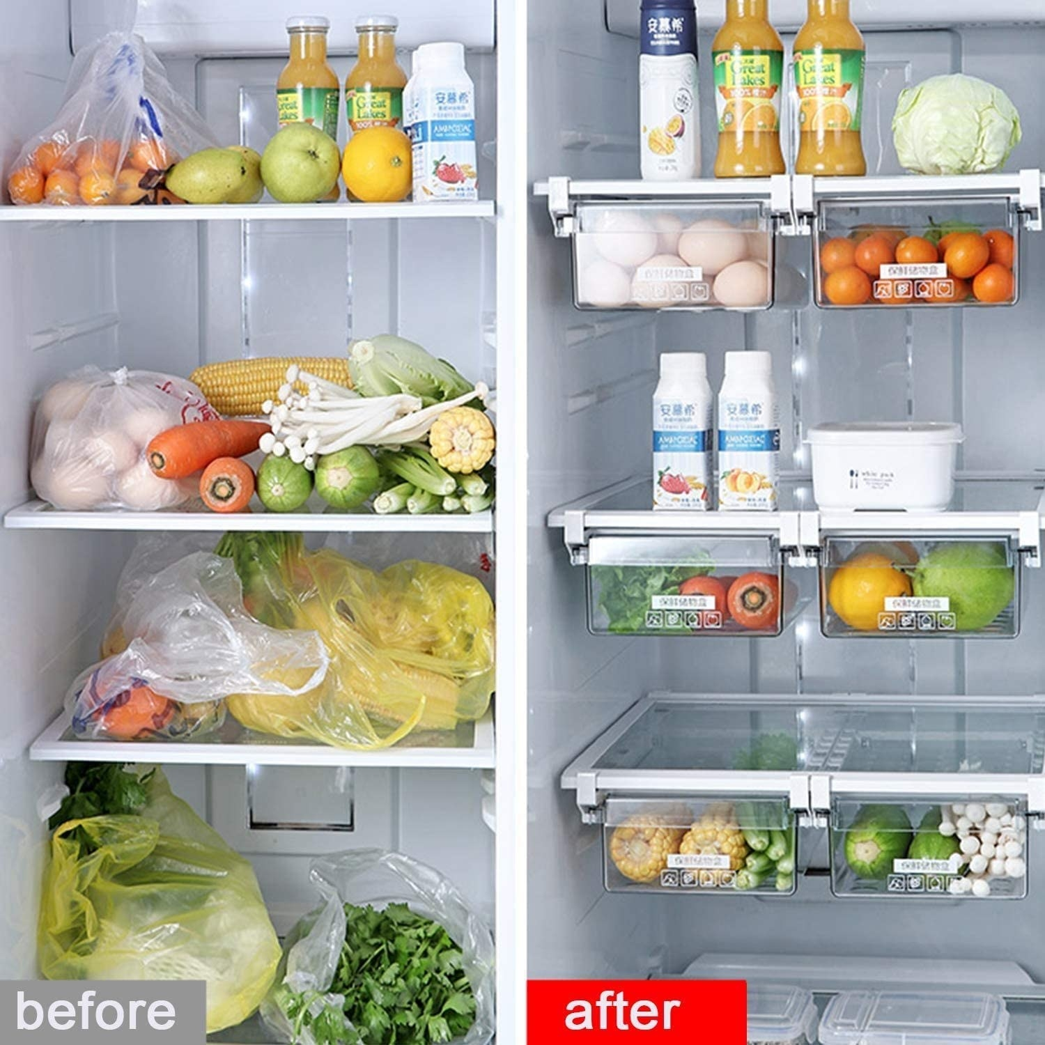 a fridge before and after using the bins