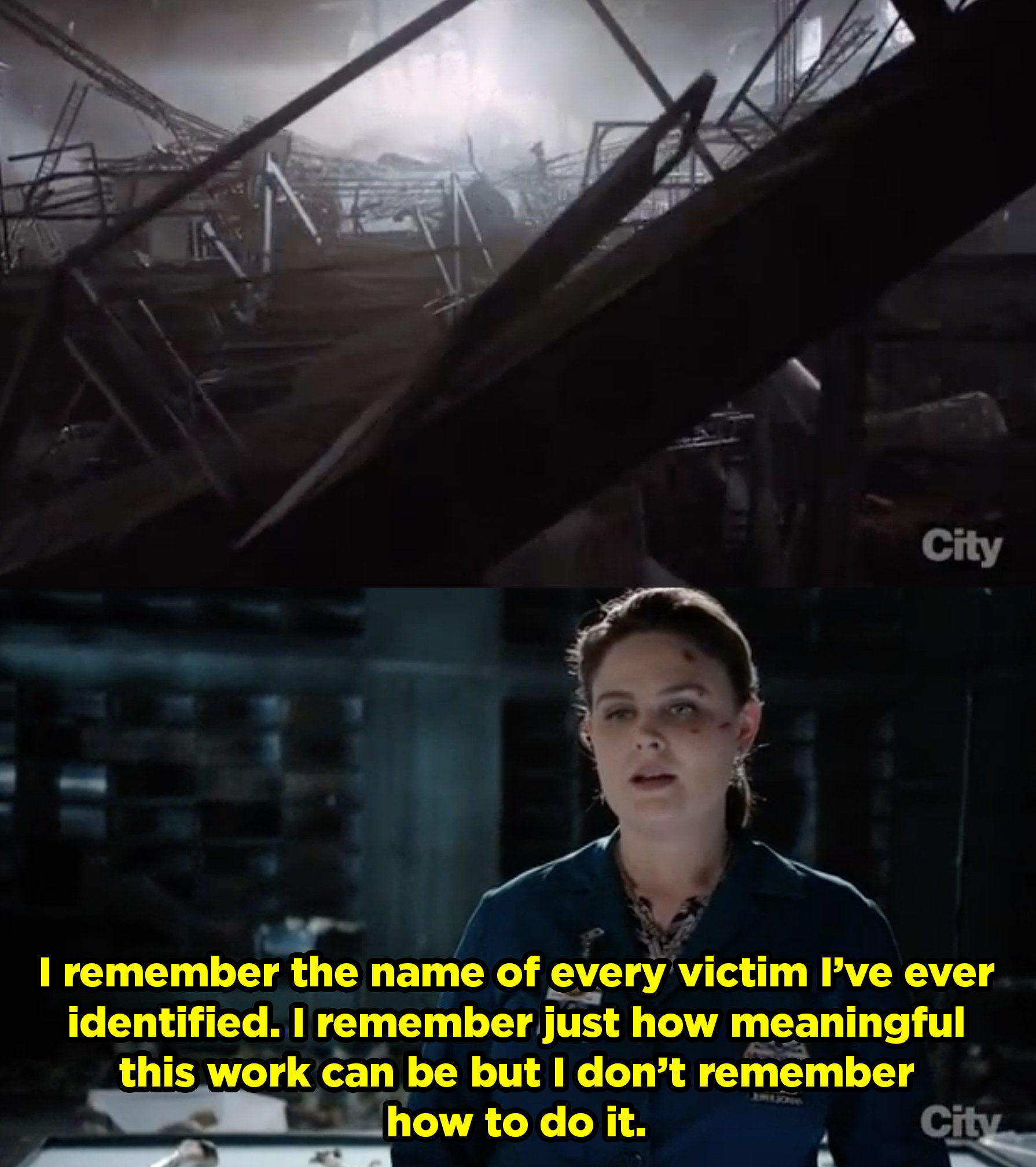The lab explodes and Brennan talks about remembering all the victims she's identified, and how important the job is, she just can't remember how to do it.