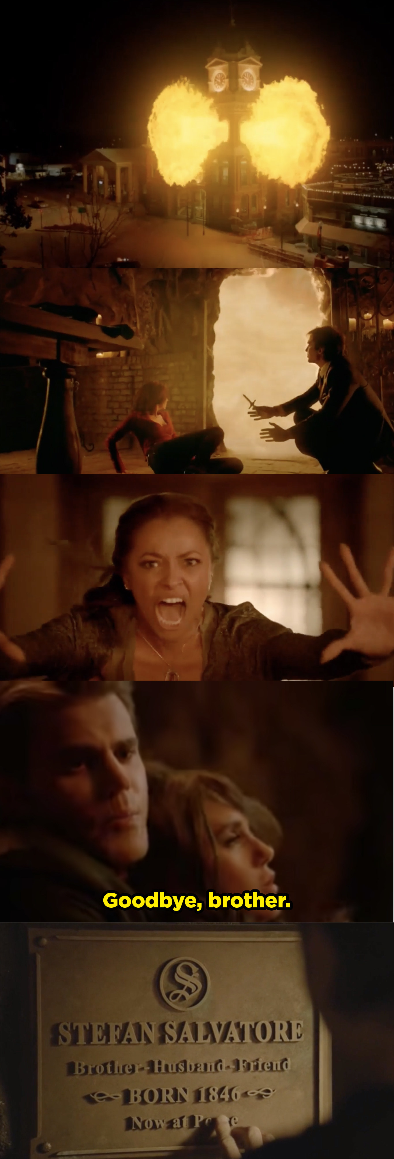 Hell begins to overcome Mystic Falls and Bonnie stops it, then Stefan sacrifices himself in order to kill Katherine, the queen of hell.