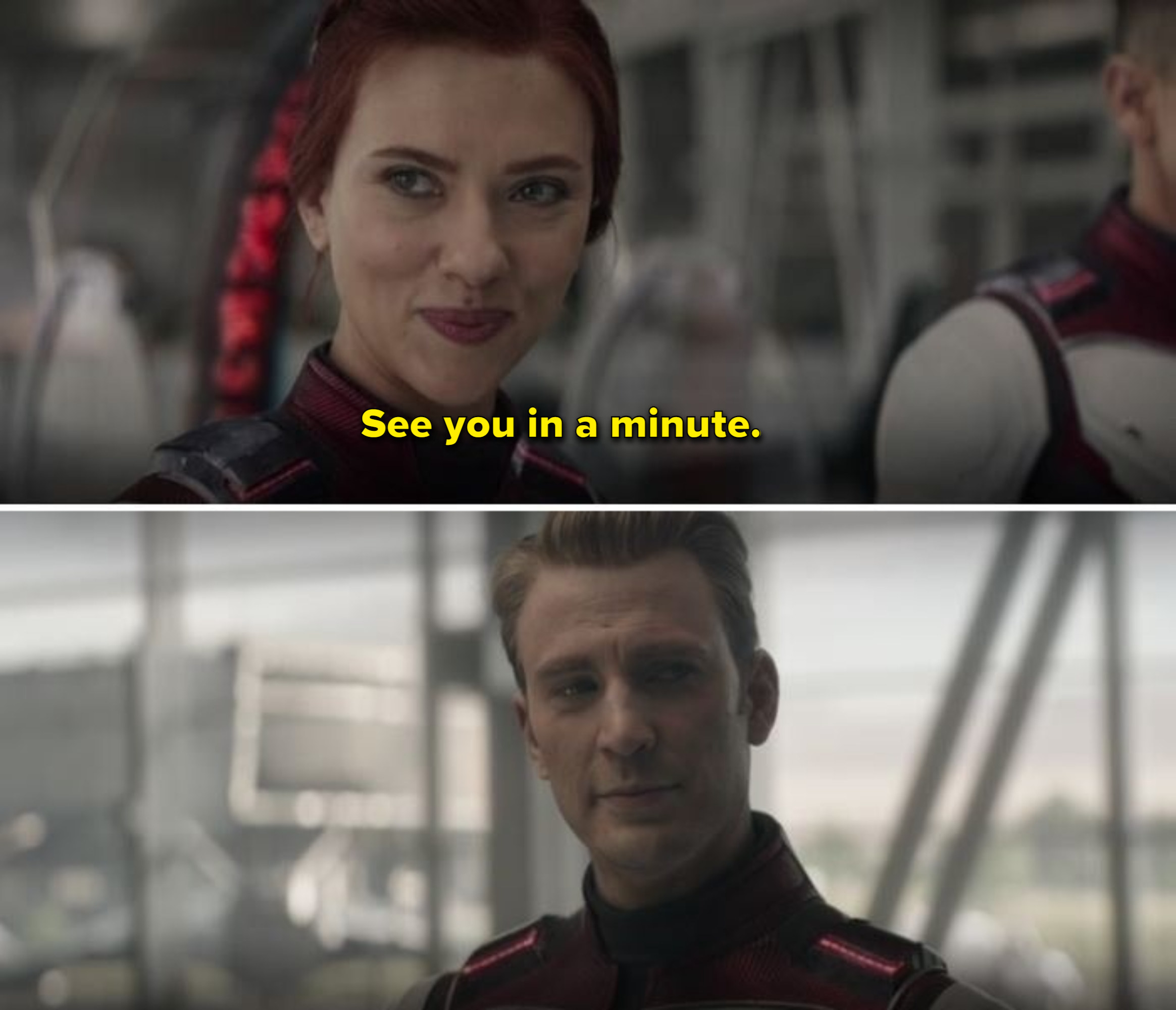 Black Widow says see you in a minute