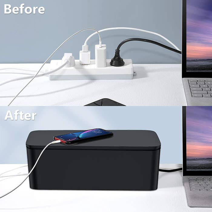 the cords in the box before and after