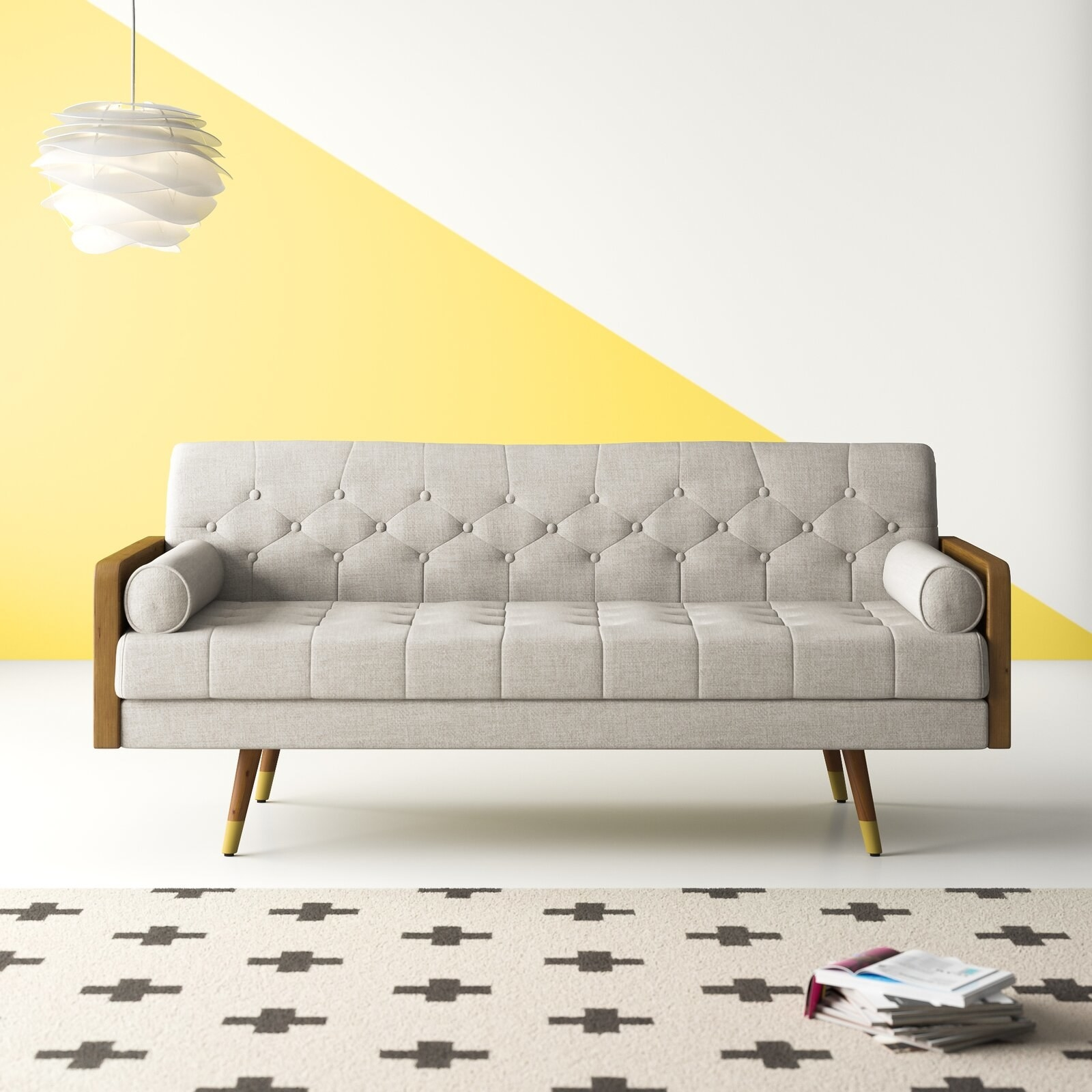 The square arm sofa in beige with wood sides and a tufted back