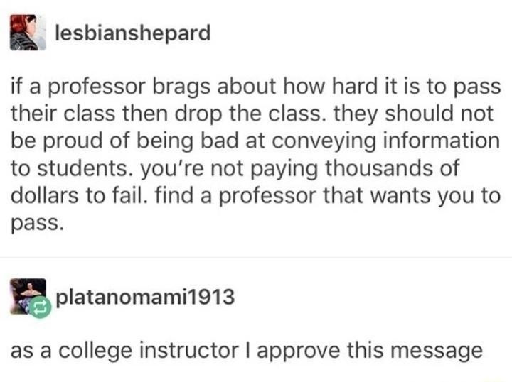 tumblr post about how if a professor brags about their class being hard its a red flag