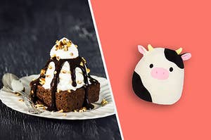 Connor the cow Squishmallow next to a brownie with a scoop of ice cream on top