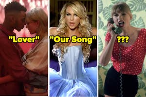 "Three music video images labeled ""Lover,"" ""Our Song,"" and ""?"""