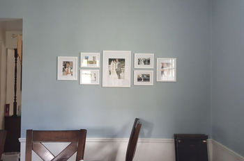 A customer review photo of the frames perfectly placed on their wall