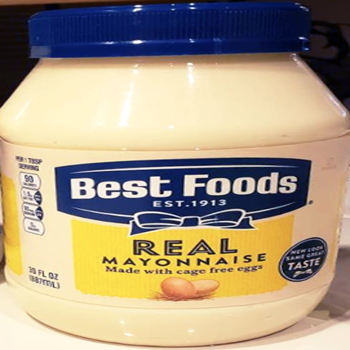 """A jar of Best Foods mayo with blue and yellow coloring, a blue bow and """"real mayonnaise"""" written on it"""