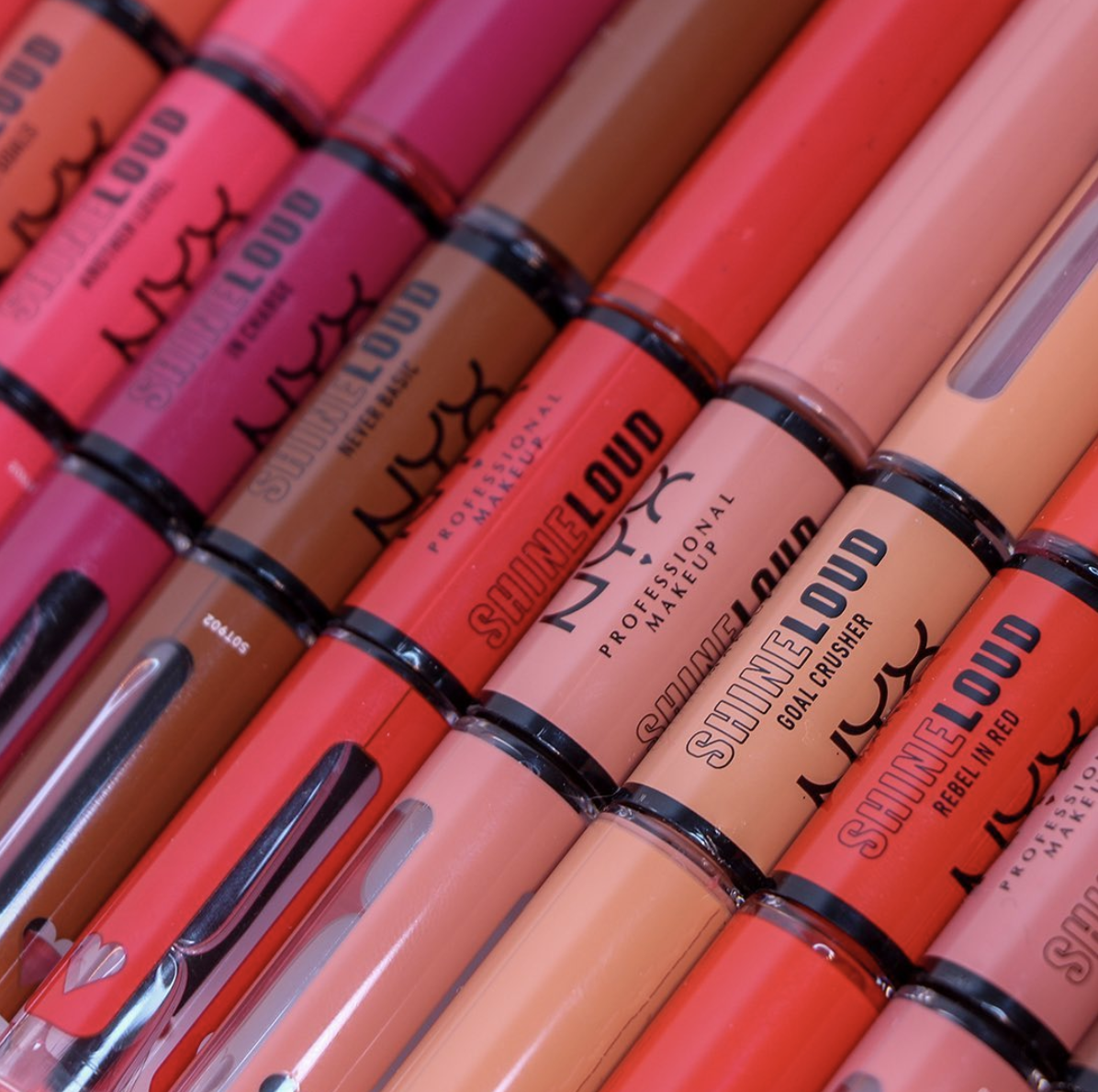 a row of the high shine lip colours