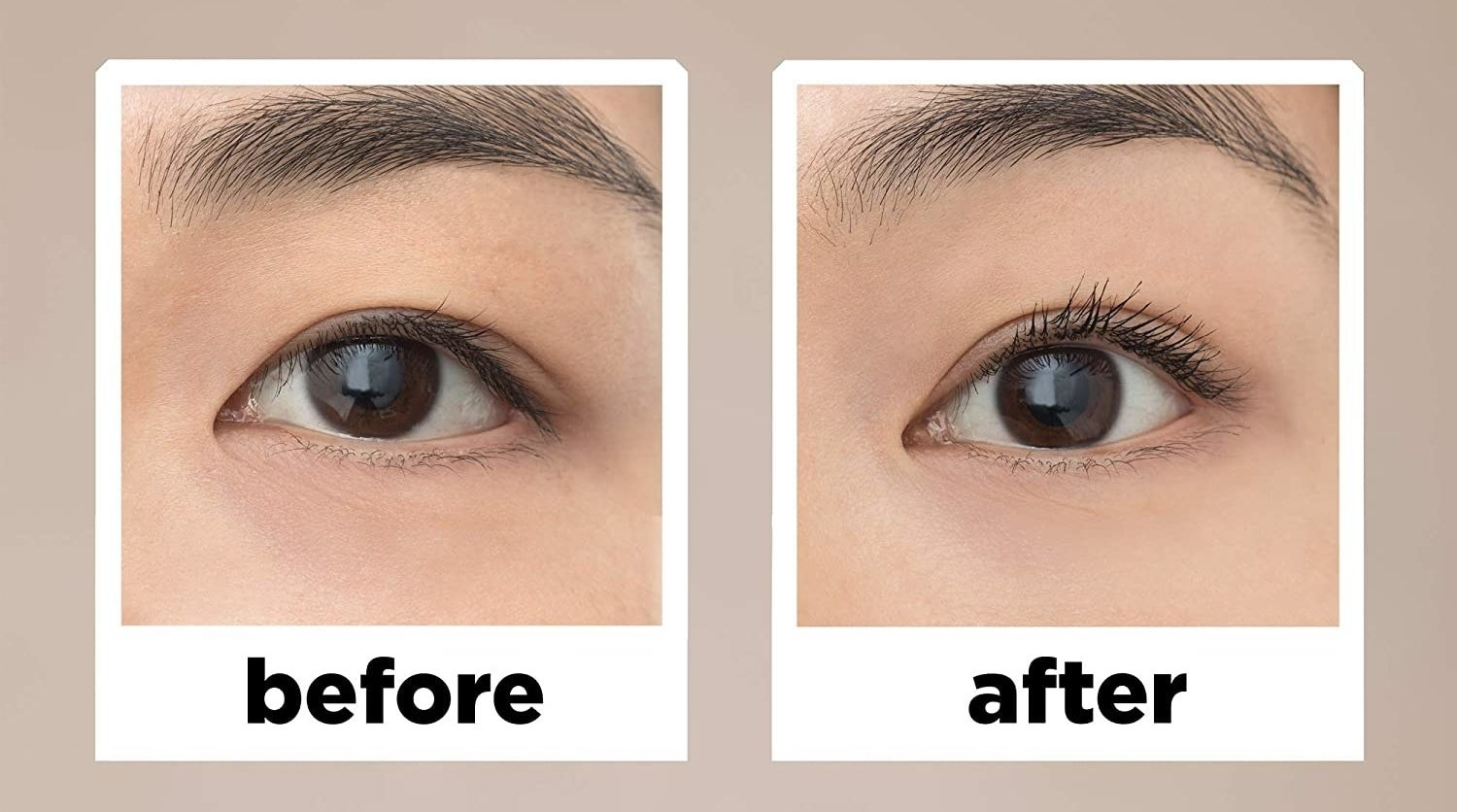 a before and after of the mascara