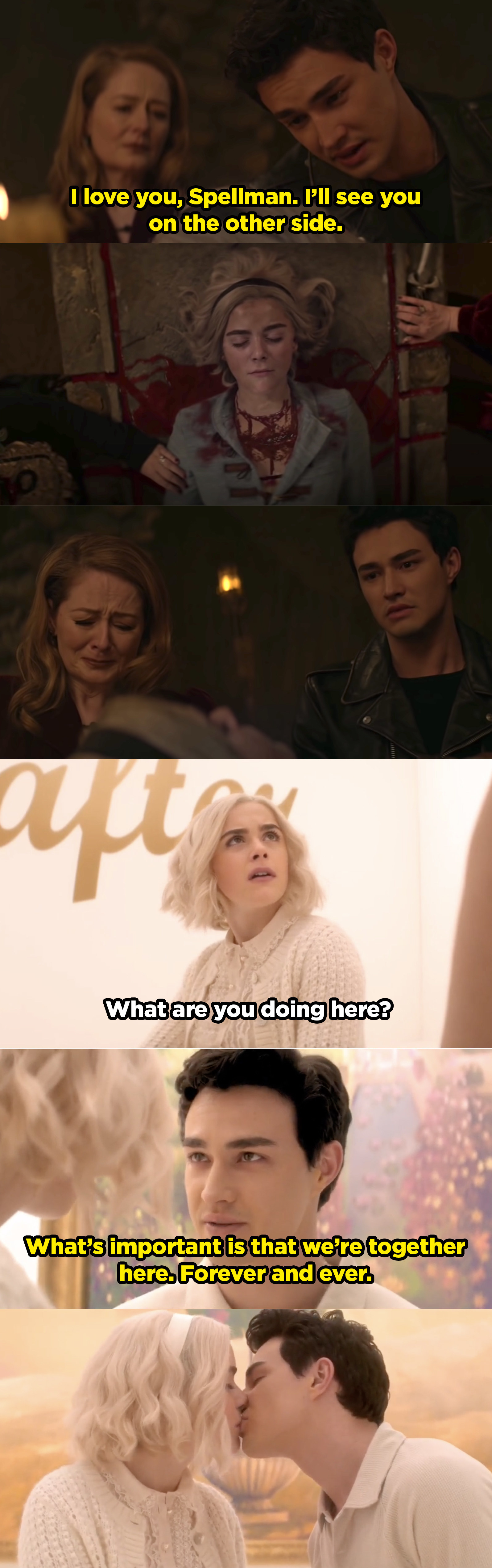 Sabrina dies and Nick is in shock so he decides to die by suicide to be with her in heaven. They meet up and he tells her they'll be together forever.