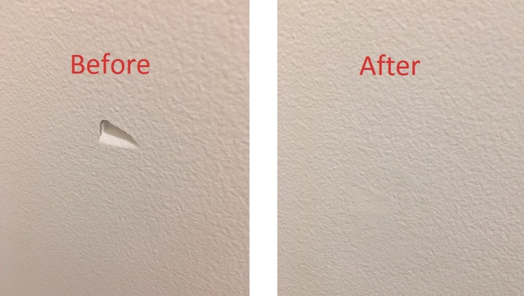A customer review before and after photo showing the hole on their wall filled in