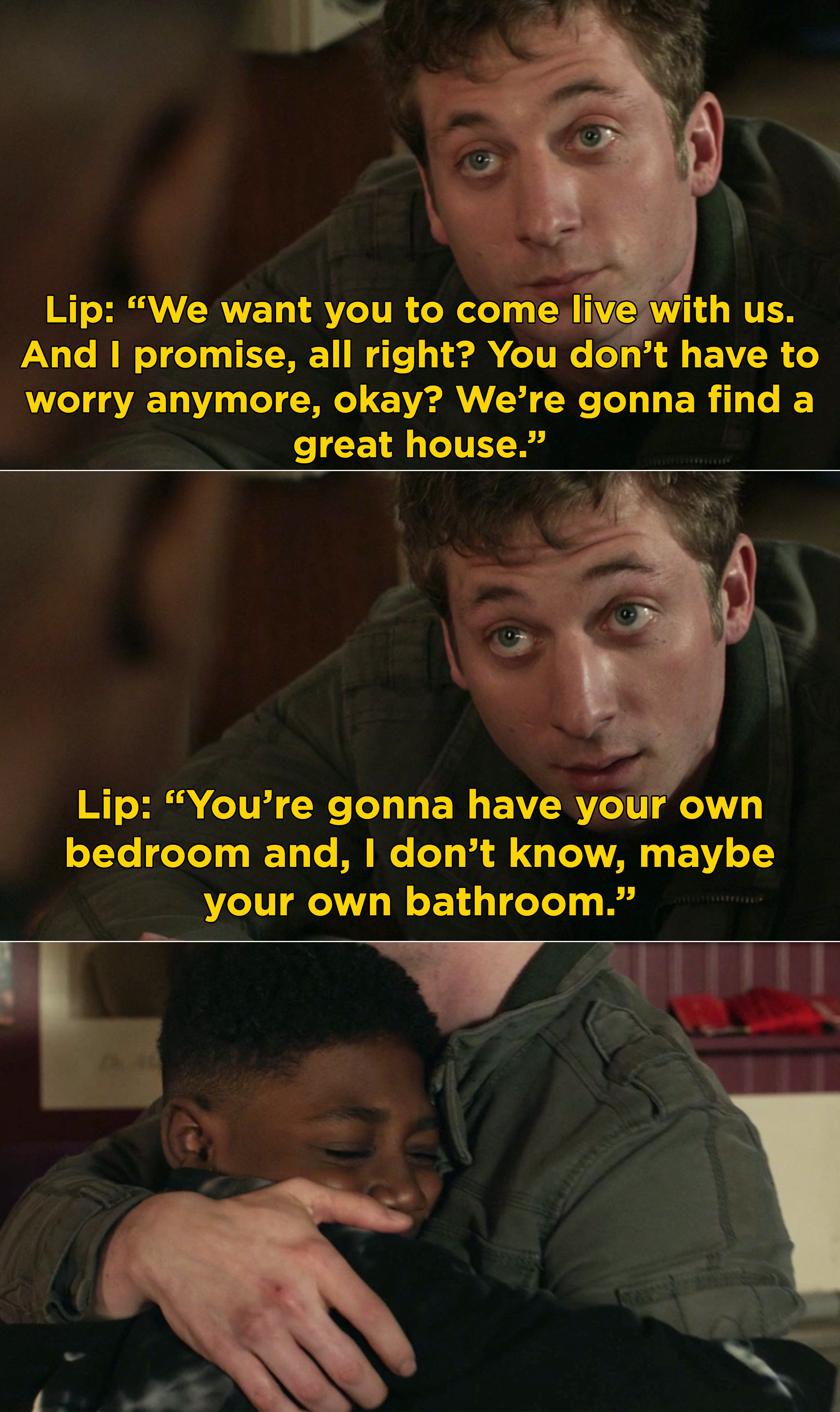 Lip explaining to Liam that he will have his own bedroom in their new house