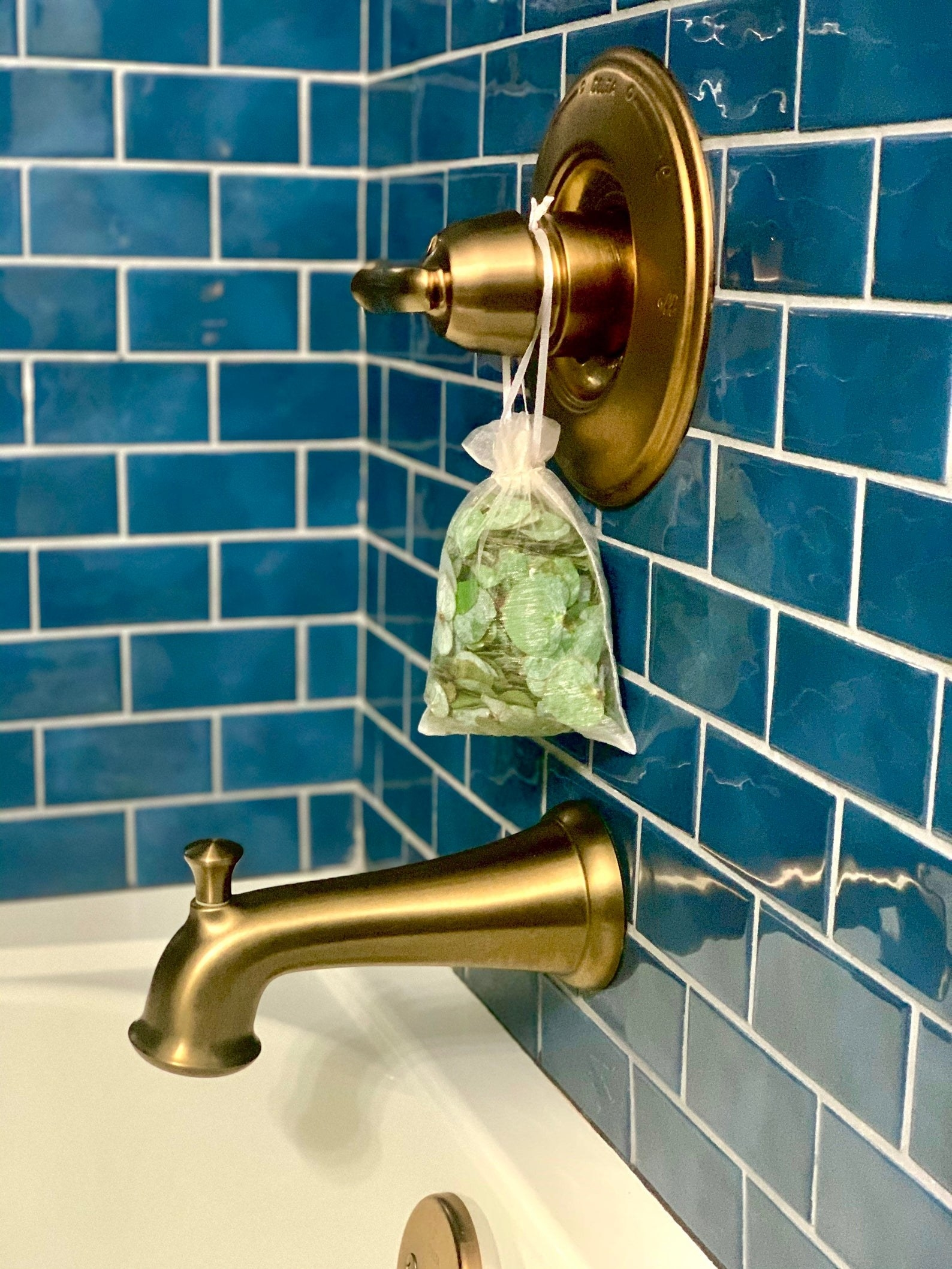 clear pouch of fresh eucalyptus leaves and essential oil hanging on a gold bath faucet
