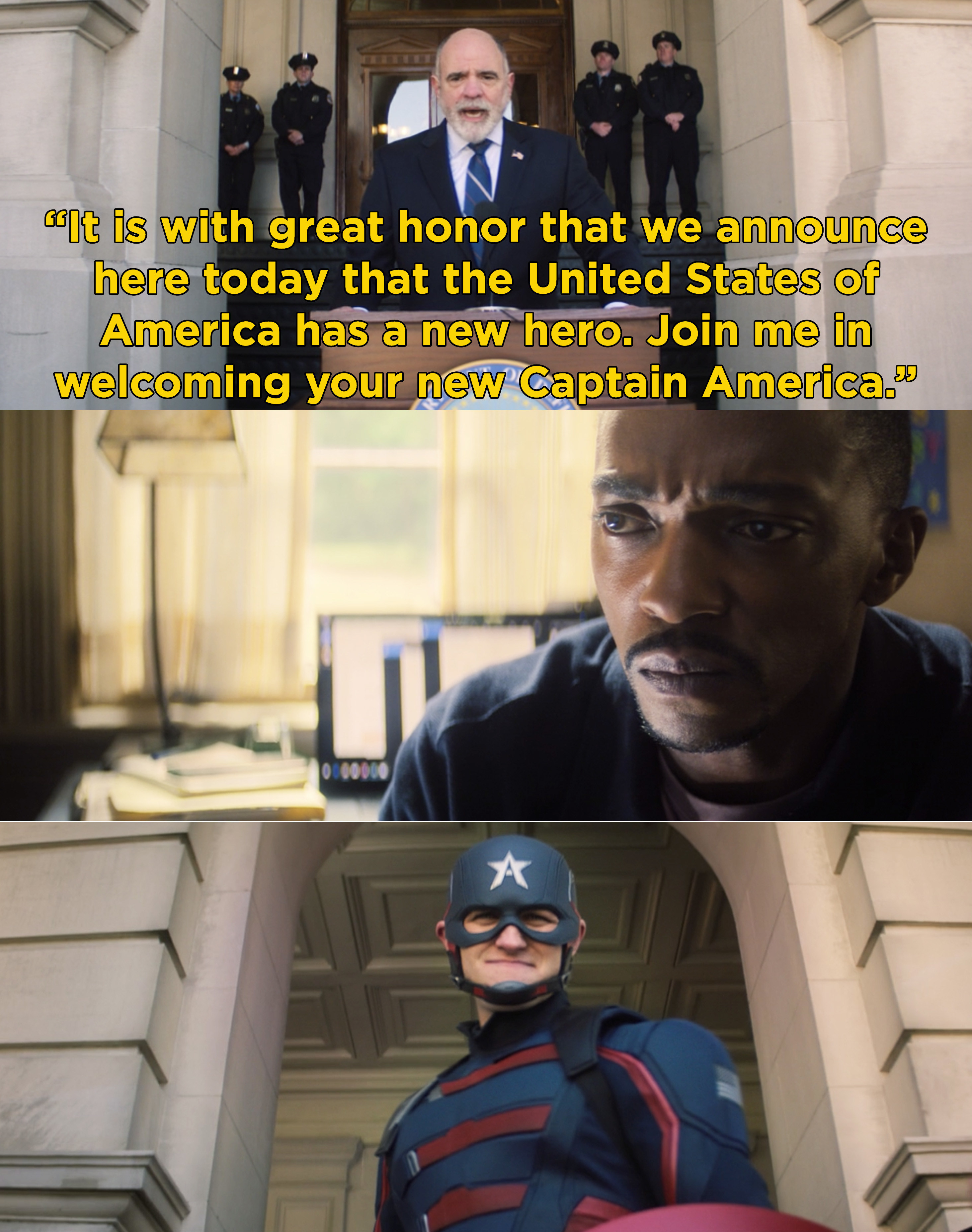 A government official introducing the new Captain America and Sam watching it on TV