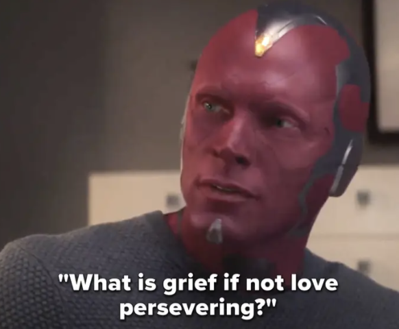 "Vision saying ""What is grief if not love persevering?"""