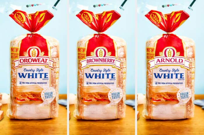 Three packages of bread, Oroweat, Brownberry, and Arnold with the exact same font, packaging, and colors, just different names
