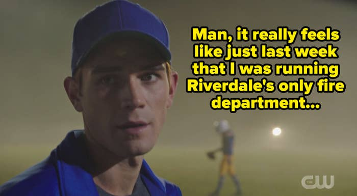 Archie as a coach with the caption, man it really feels like just last week that I was running riverdale's only fire department