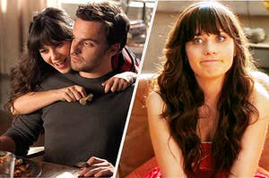 Jess and Nick from New Girl looking as if they no longer have feelings for each other