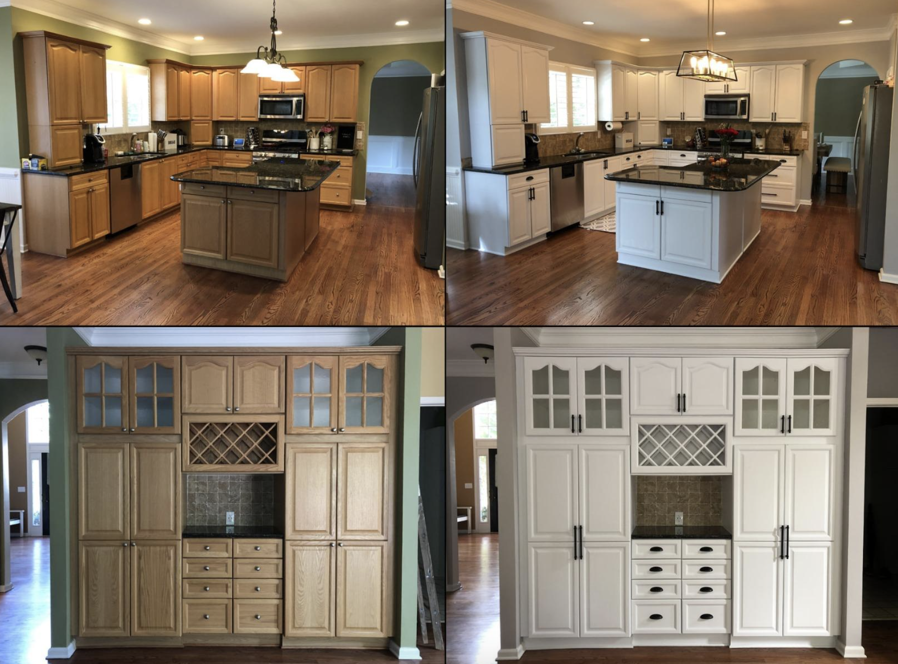 A before and after customer review photo of their wood cabinets painted white