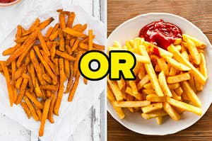"""On the left, a pile of sweet potato fries, and on the right, some fries on a plate with a side of ketchup with """"or"""" typed in between the two images"""
