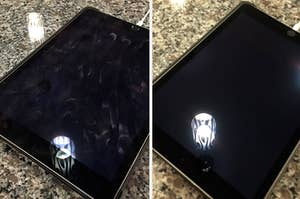A fingerprint covered tablet on the left / the clean tablet on the right
