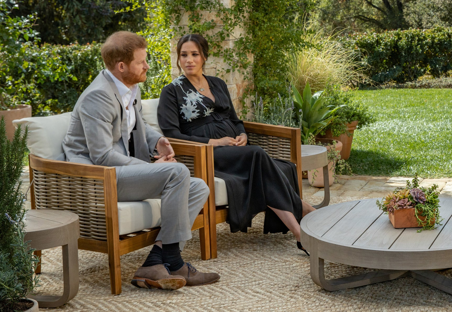 Meghan looks at Harry during the Oprah interview