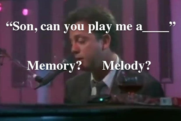 """An image of Billy Joel in """"Piano Man"""" and the lyric """"Son can you play me a memory or melody?"""""""
