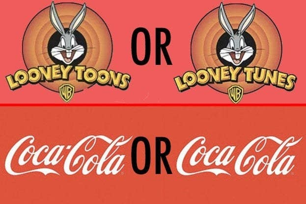 Images of the Looney Tunes logo spelled toons and tunes, and the Coca-Cola logo with and without a hyphen