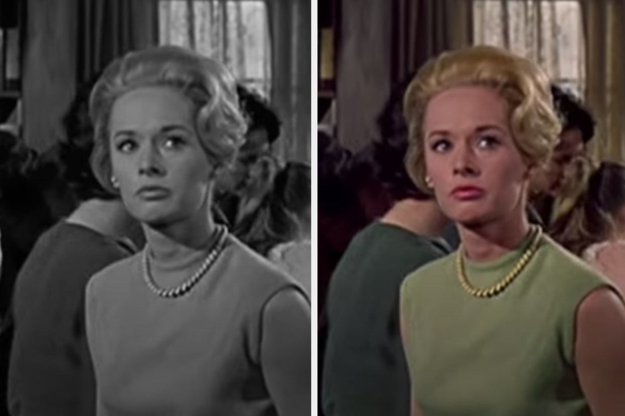 Side-by-side images of Tippi Hedron in The Birds, one in black and white and one in color