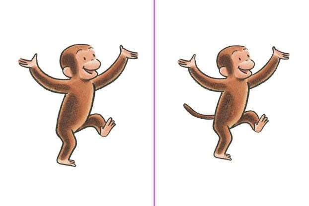 Images of Curious George with and without a tail