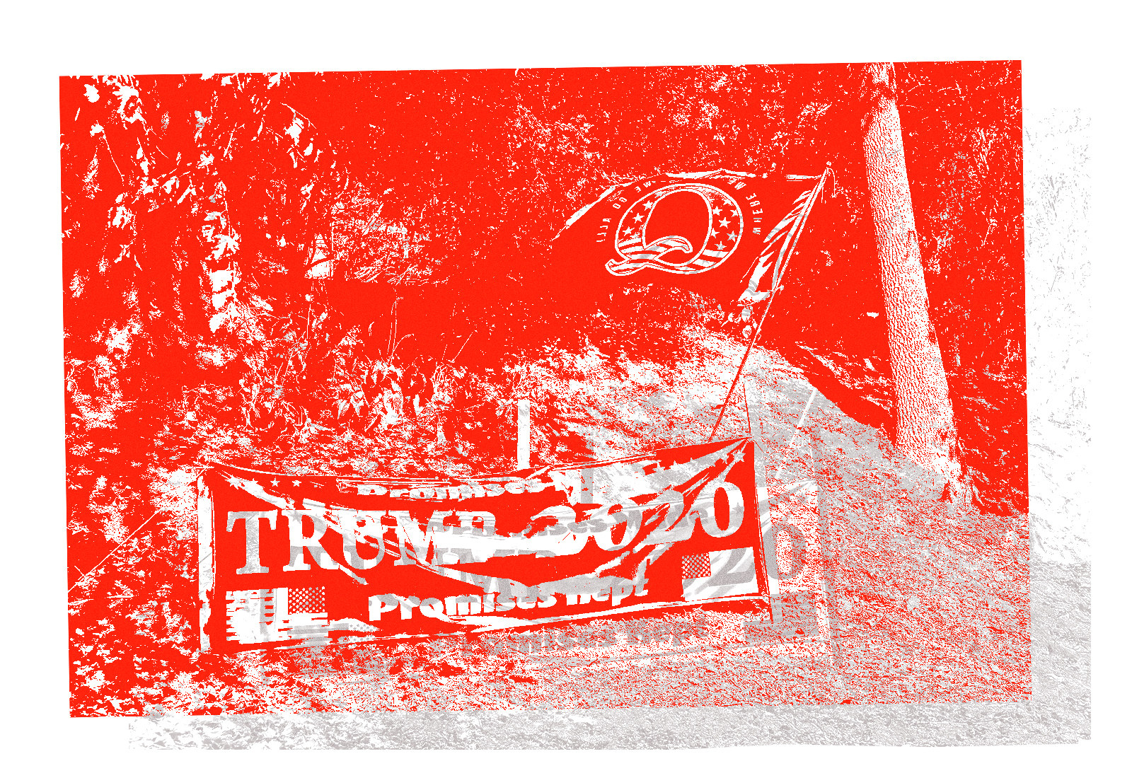 A stylized photo of a Trump 2020 banner and a Q flag