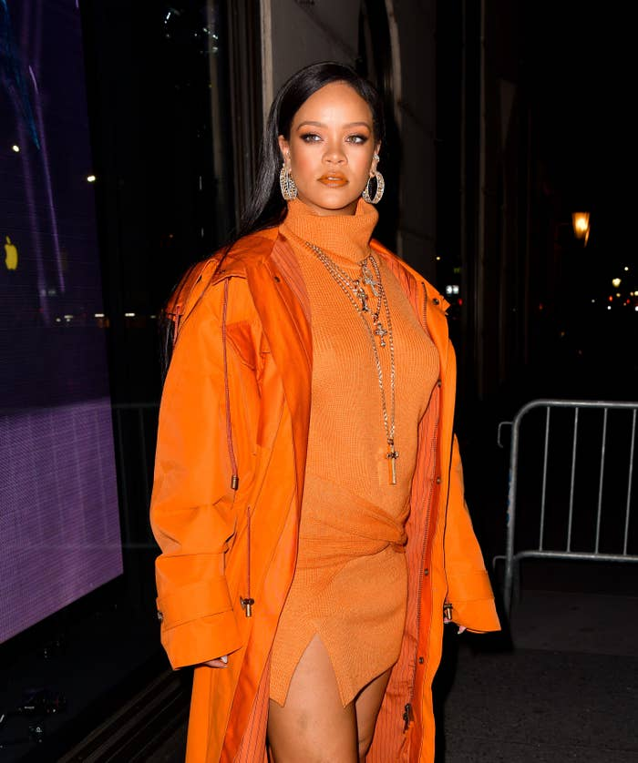 Rihanna in front of Bergdorf Goodman in February 2020