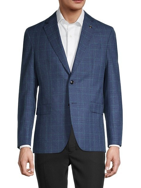 Blue plaid wool, cotton, and silk-blend mens sportcoat