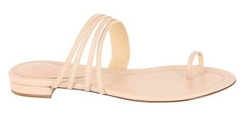 Light sand leather sandals with toe loop and leather straps