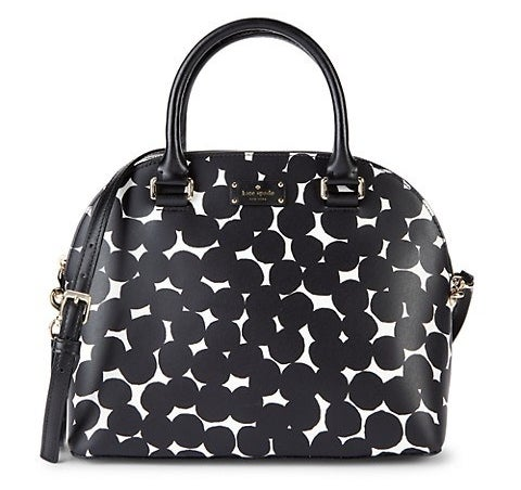 Black and white dotted handbag with removable crossbody strap