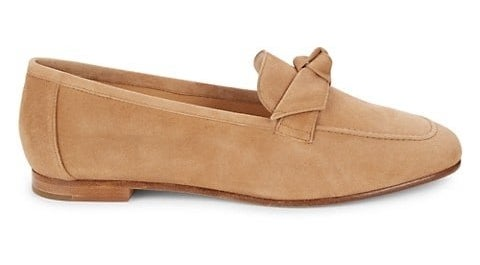 Beige suede loafers with square toe and front knot detail