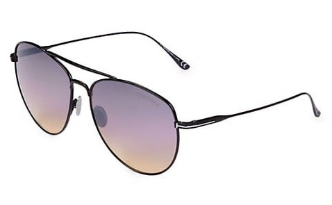 Aviator sunglasses with gradient lenses and black metal frame