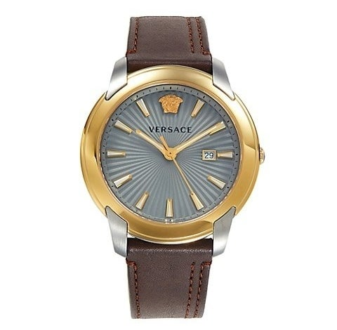 Brown leather band with grey dial and two-tone stainless steel case