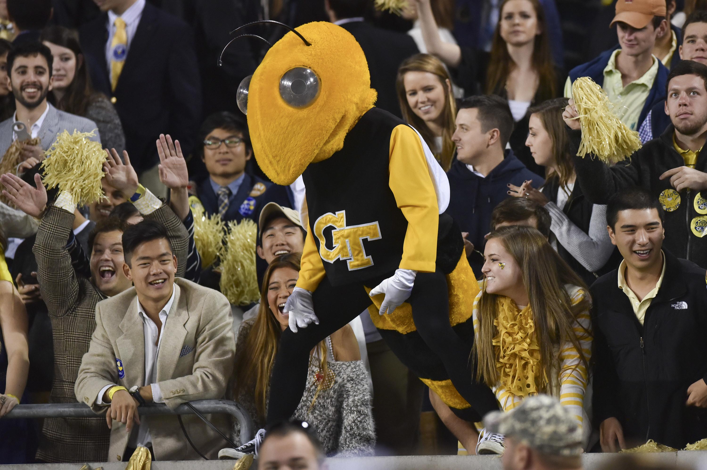 Georgia Tech yellow and black bee mascot.