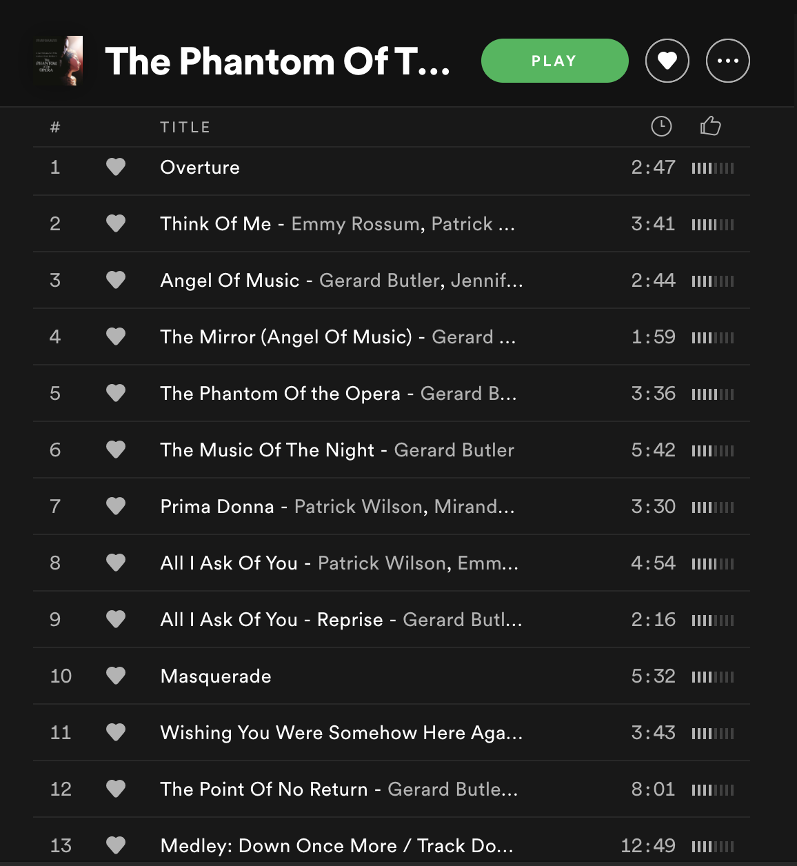 Spotify track list of 13 songs for Phantom of the Opera