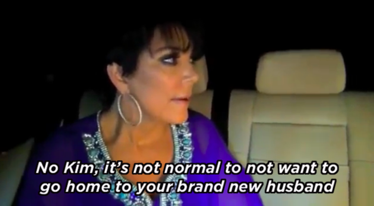 "Kris says, ""No, Kim, it's not normal to not want to go home to your brand-new husband"""