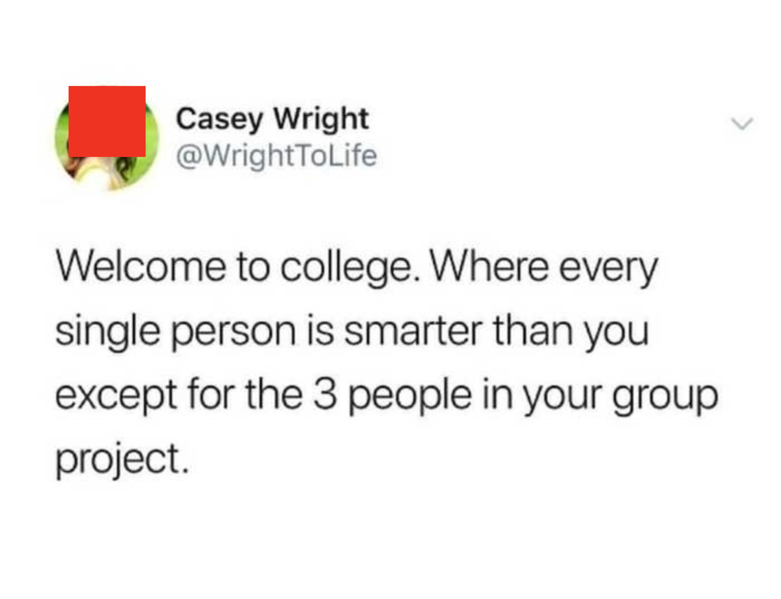 """Tweet reading, """"Welcome to college, where every single person is smarter than you except for the 3 people in your group project"""""""