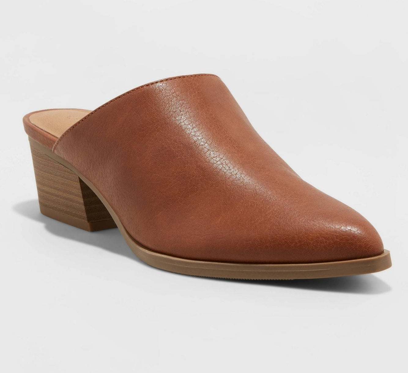 brown pointed toe mules with low stacked heel