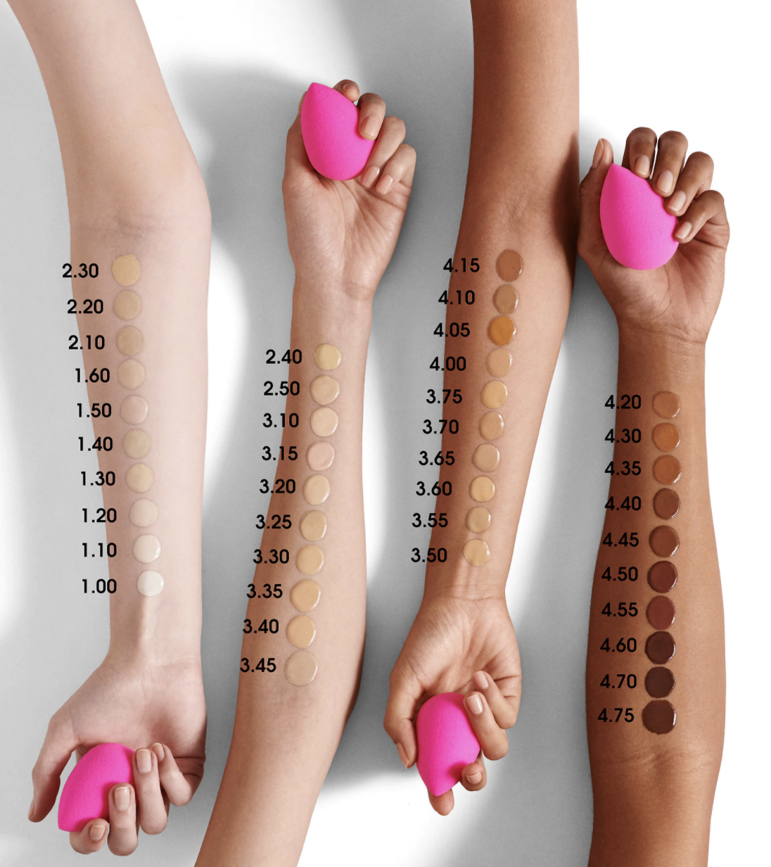 Swatches of the shades on four arms with different skin tones