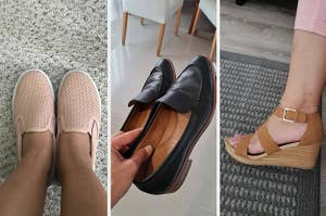 three panels showing a reviewer wearing a pair of pink slip-on sneakers, a hand holding a pair of black leather loafers, and a reviewer wearing capris and a multi-strap wedge heel