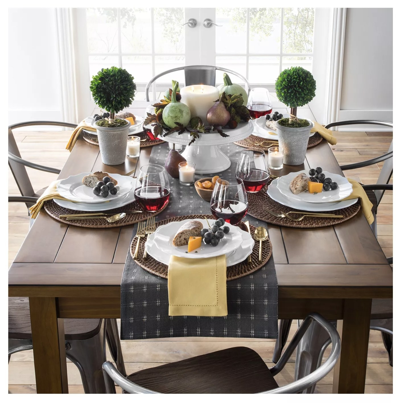 The wood dining table
